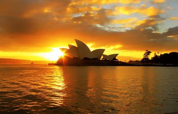 Картинка облака, закат, Австралия, театр, Сидней, Australia, вода., sity, оперный, Sidney