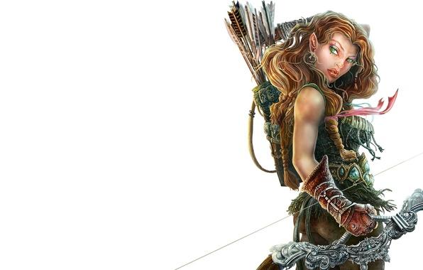 Картинка взгляд, оружие, фантастика, лук, эльфийка, стрелы, воительница, колчан, стрелок, Лоранталаса, Dragonlance, Laurana, Лорана