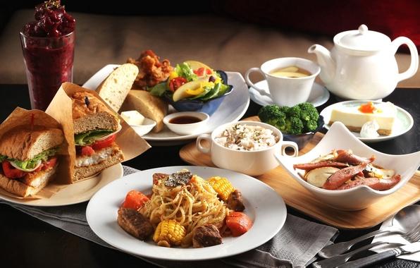 Картинка рис, бутерброд, овощи, десерт, блюда, ассорти, паста