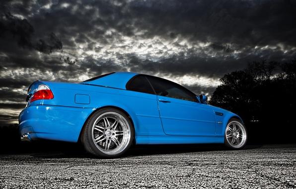 Картинка облака, синий, бмв, BMW, blue, E46