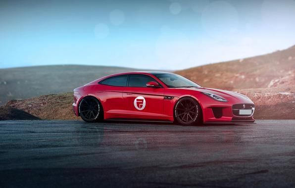 Картинка Jaguar, Red, Car, Front, Sun, Sport, F-type, Rain Prisk