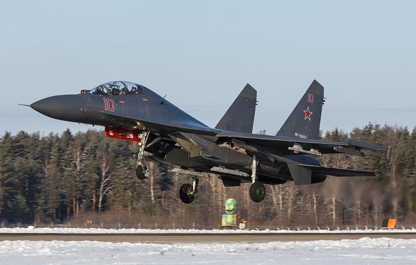 Картинка истребитель, аэродром, взлет, Су-35, реактивный, многоцелевой, сверхманевренный