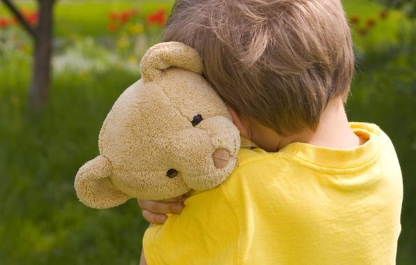 Фото обои дети, lonely, Teddy bear, грустно, ребенок, грусть, детство, little boy, Маленький мальчик, child, sad, Мишка, ...