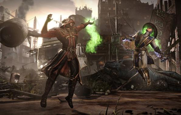 Картинка магия, бой, арена, Raiden, Ermac, Mortal Kombat X