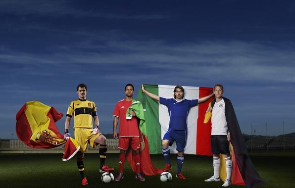 Картинка футбол, спорт, Германия, Италия, Адидас, sport, флаги, Португалия, Испания, Italy, Germany, Adidas, чемпионат, футболисты, football, …