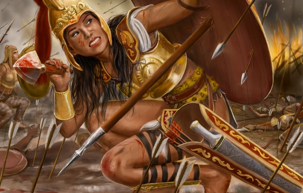 Картинка девушка, огонь, война, доспехи, копье, щит, живопись, стрелы, амазонка, Thalestris