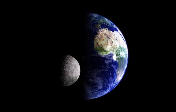 Картинка космос, земля, луна, планета, спутник
