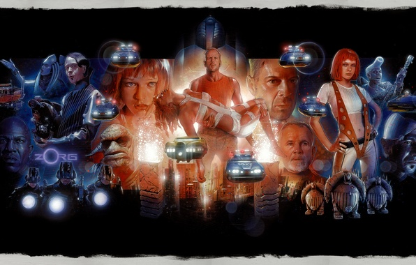 Картинка Bruce Willis, art, Milla Jovovich, Gary Oldman, The Fifth Element, Leeloo, Jean-Baptiste Emanuel Zorg, Пятый …