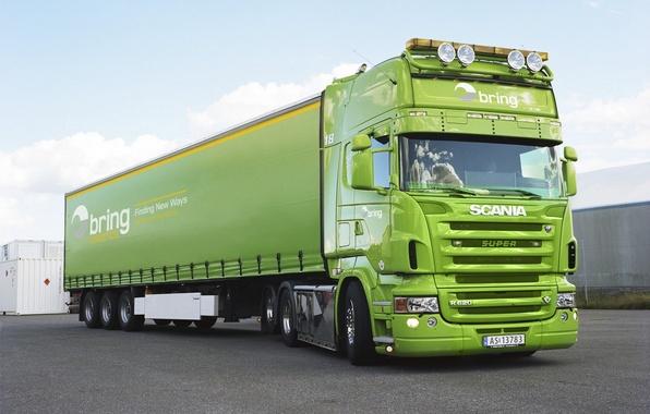 Картинка Зеленый, Грузовик, Scania, Тягач, Фура, R620