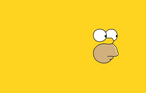 Картинка взгляд, лицо, Симпсоны, минимализм, гомер, homer, The Simpsons