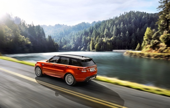 Картинка Авто, Дорога, Озеро, Лес, Оранжевый, Land Rover, Range Rover, Sport, Вид с боку