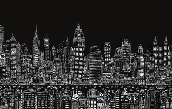 Картинка дизайн, надписи, рисунок, вывески, черный фон, детали, мегаполис, высотки