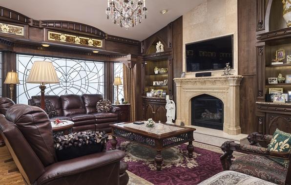 Картинка дизайн, стиль, диван, дерево, ковер, лампа, кресло, камин, столик, гостиная, декор