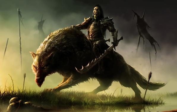 Картинка Fantasy, Art, Warrior, Wolf, Orc Rider, Warchief