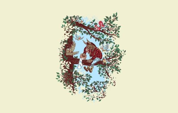 Картинка листья, птицы, дерево, сова, минимализм, ветка, пила, довольный, толстый, идиот, осел