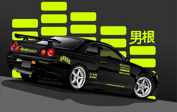 Картинка чёрный, вектор, Nissan, black, ниссан, Skyline, rear, R34, скайлайн