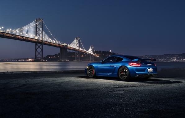 Картинка Porsche, Dark, Cayman, Car, Blue, Bridge, Night, Sport, GT4, Rear