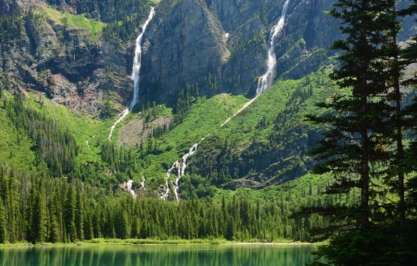 Картинка горы, озеро, Монтана, водопады, Glacier National Park, Глейшер, Montana, Avalanche Lake