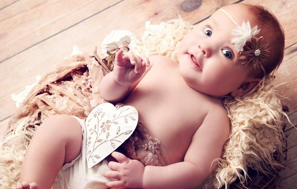 Картинка сердце, ангел, голубые глаза, heart, blue eyes, смешно, angel, funny, children, красивая девочка, beautiful little …