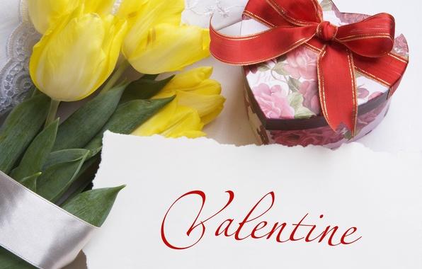 Картинка фото, Цветы, Желтый, Тюльпаны, Праздник, День святого Валентина, Бантик, Подарки