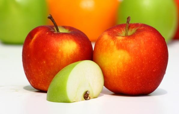 Картинка макро, красный, зеленый, яблоки, еда, пища, долька, фрукты, вкусно, полезно