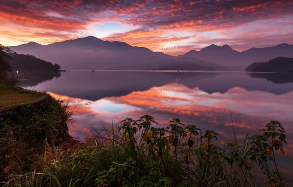 Картинка закат, горы, озеро, отражение, China, Китай, Тайвань, Taiwan, Sun Moon Lake, Озеро Сан Мун, Ючи, …