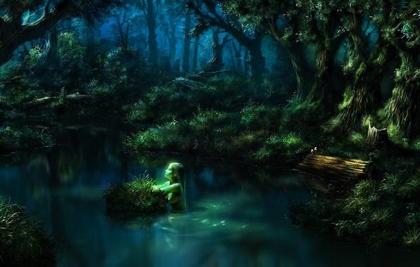 Картинка лес, вода, девушка, озеро, пруд, фэнтези, арт, бревно, нимфа, кочка