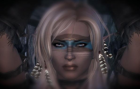 Картинка взгляд, девушка, руки, маскировка, белые волосы, Skyrim, The Elder Scrolls V, Скайрим
