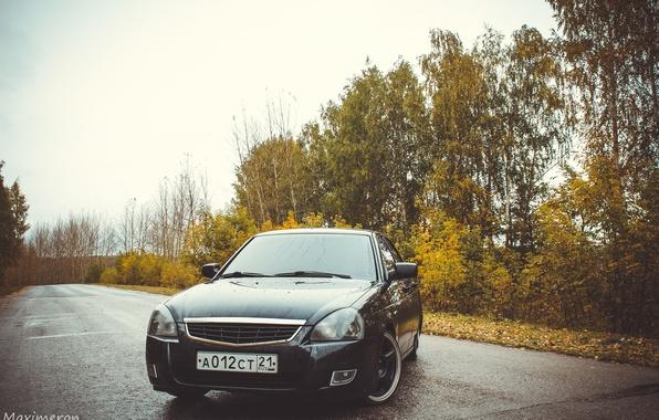 Картинка машина, авто, деревья, оптика, перед, auto, LADA, Priora, ВАЗ, БПАН, Приора, Чувашская республика