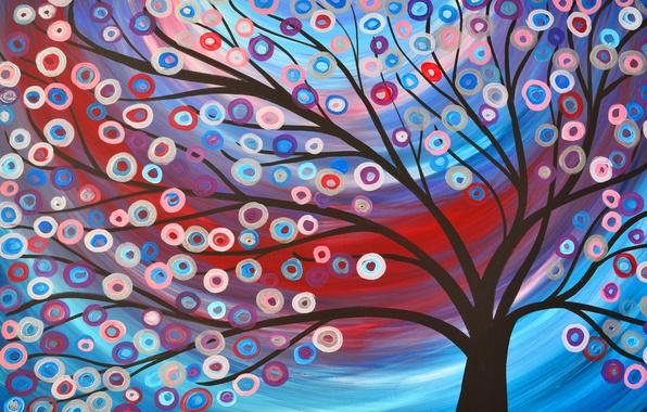 Картинка свет, цветы, природа, абстракция, дерево, рисунок, картина