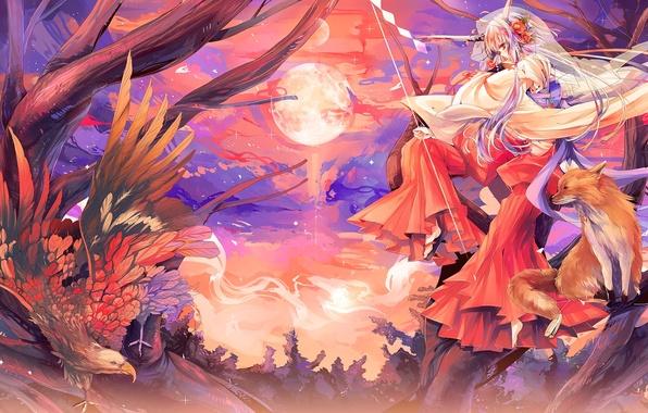 Обои картинки фото аниме, девушка, лисичка, кицунэ, лиса