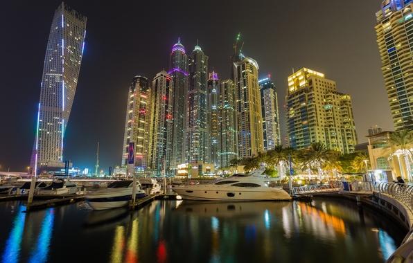 Картинка здания, залив, Дубай, ночной город, Dubai, набережная, небоскрёбы, ОАЭ, UAE, пристани, Дубай Марина, Dubai Marina