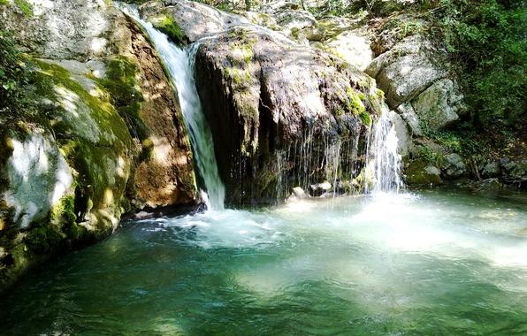 Картинка лес, деревья, камни, водопад, мох, Крым, Джур-Джур, Djur-Djur