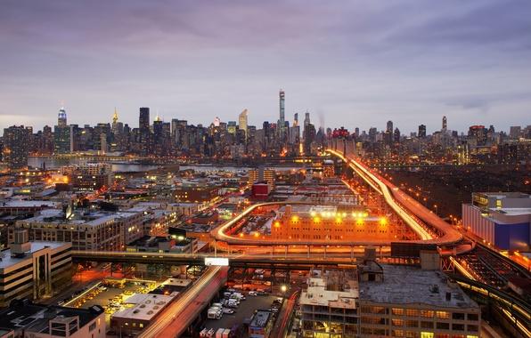 Фото обои свет, Эмпайр-стейт-билдинг, улицы, Нью-Йорк, Соединенные Штаты, Крайслер Билдинг, Лонг-Айленд, Река Гудзон, Мост Куинсборо, горизонт