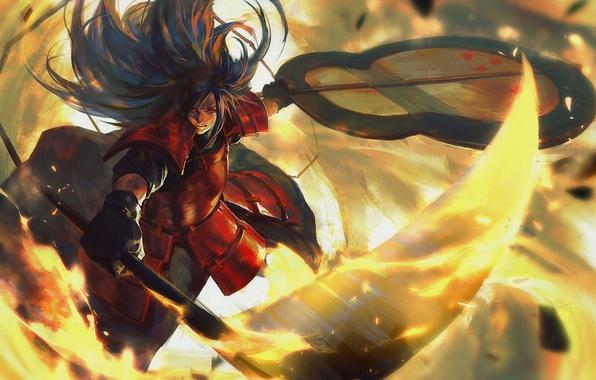 Картинка оружие, аниме, арт, парень, Наруто, Учиха Мадара
