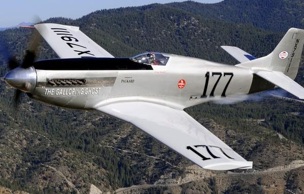Картинка полет, горы, самолет, истребитель, пилот, пропеллер