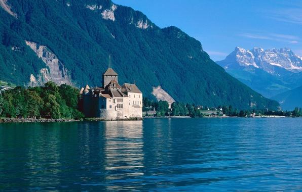 Картинка лес, лето, небо, горы, озеро, замок, домики