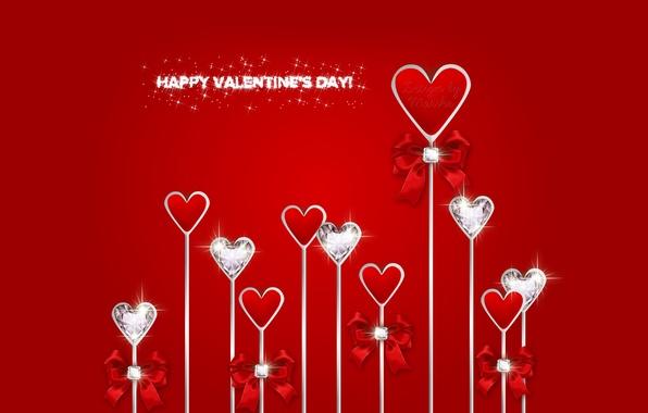 Картинка сердце, бриллианты, red, love, бант, heart, romantic, Valentine's Day, Happy, diamonds, Design by Marika