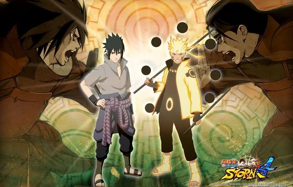 Картинка бой, лого, повязка, броня, logo, ниндзя, крик, шаринган, Sasuke Uchiha, Naruto Uzumaki, Саске Учиха, Наруто …
