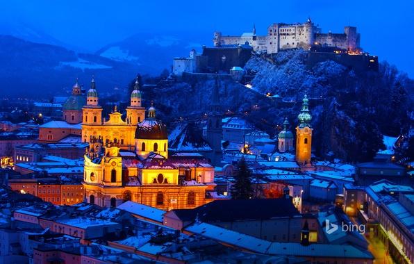 Картинка зима, снег, горы, ночь, огни, замок, дома, Австрия, Зальцбург