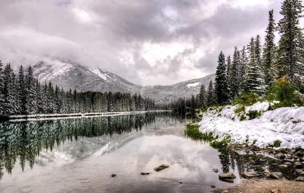 Картинка зима, вода, облака, снег, деревья, пейзаж, горы, природа, озеро, отражение, Канада, Альберта, Alberta, Canada