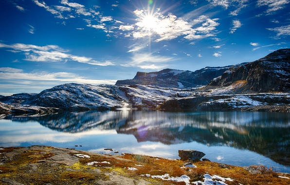 Картинка небо, вода, солнце, снег, озеро, холмы, Природа, Nature, sky, water, lake, snow, sun, hills