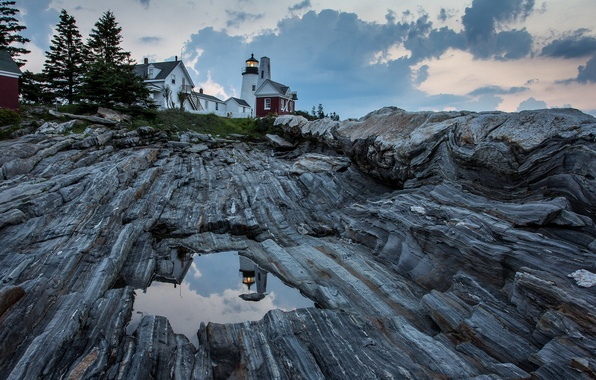 Картинка небо, облака, отражения, скалы, маяк, дома, лужи, США, United States, штат, Maine, залив Атлантического океана, ...