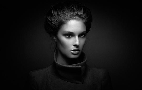 Картинка девушка, фон, портрет, причёска, The woman Silver