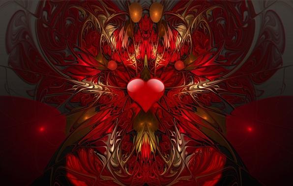 Картинка узор, сердце, объем, симметрия