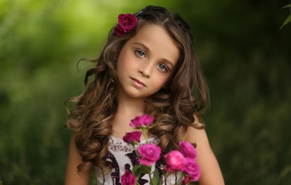 Картинка портрет, розы, девочка