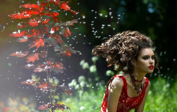 Картинка осень, природа, лицо, волосы, помада, губы