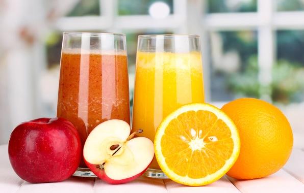 Картинка яблоко, апельсин, сок, стаканы, фрукты, апельсиновый, яблочный