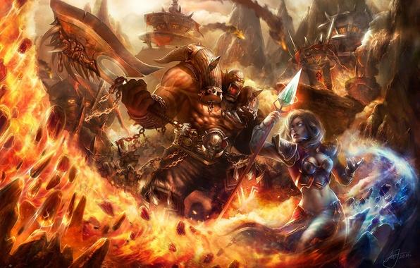 Картинка девушка, огонь, магия, воин, маг, посох, World of Warcraft, битва, топор, wow, orcs