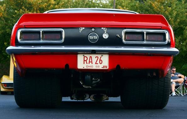 Картинка машина, улица, Chevrolet, Camaro, дорого, колёса, 1968, камаро, шивролет